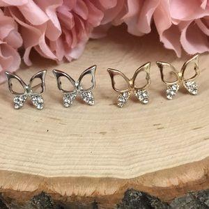 Jewelry - Whimsical Crystal Rhinestone Butterfly Earrings